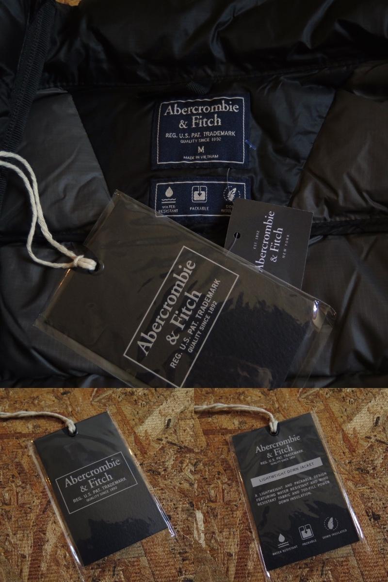 新品☆本物 NY購入 Abercrombie & Fitch Light Weight Down Jacket Mサイズ BLACK/黒 アバクロ ライトウェイト ダウンジャケット_画像9