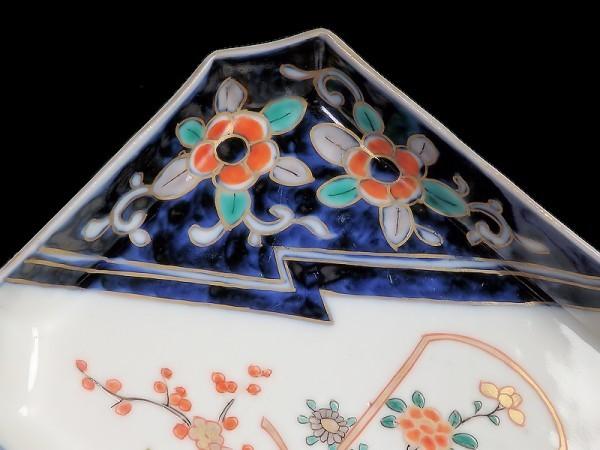 ★華心★ AXe-D130S 古伊万里 色絵 梅に菊 花籠の図 角皿 5枚_画像8