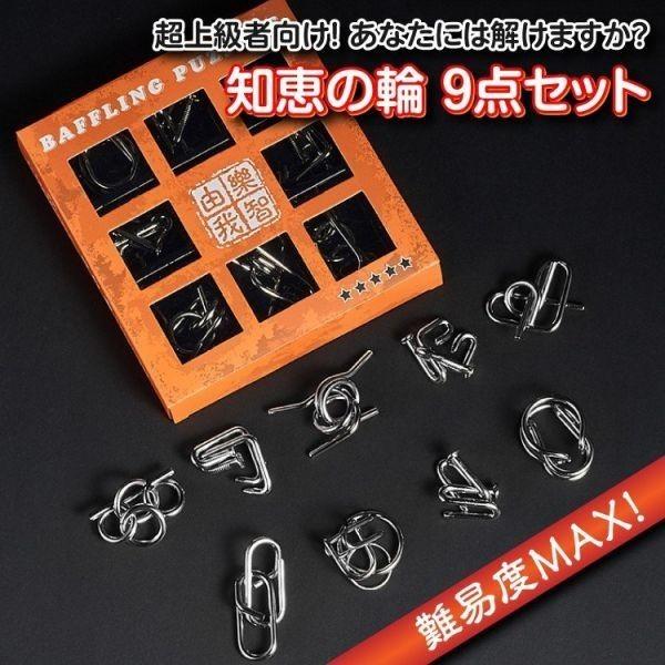 超上級者向け 知恵の輪9点セット レベル5 難易度MAXに挑戦 メタル製 脳トレに 知育玩具 パズルリングセット GL-EPPLV05