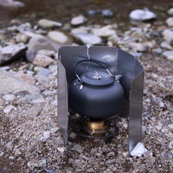 ポータブルやかん 0.8L キャンプ・アウトドア用ケトル 収納袋付き 軽量 登山 BBQ 野外 硬質アルミ  _画像6