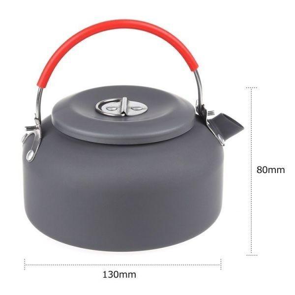 ポータブルやかん 0.8L キャンプ・アウトドア用ケトル 収納袋付き 軽量 登山 BBQ 野外 硬質アルミ  _画像5