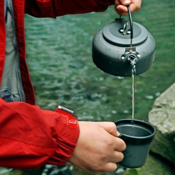 ポータブルやかん 0.8L キャンプ・アウトドア用ケトル 収納袋付き 軽量 登山 BBQ 野外 硬質アルミ  _画像7