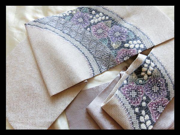 極上の逸品□正絹□名門藤娘きぬたや総絞り花模様名古屋帯□白絹鼠藤色紫青緑鶯色紺鼠