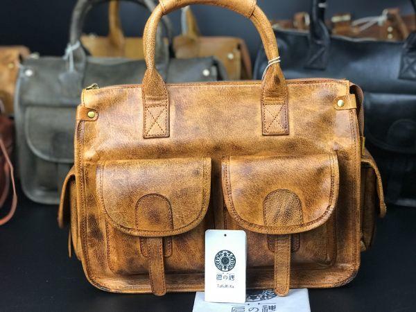 ※最高の贅沢※ メンズバッグ 本革 手染め手縫いトートバッグ 牛革レザー 2WAY 旅行用ハンドバッグ書類鞄ショルダーバッグ 新品 A4対応