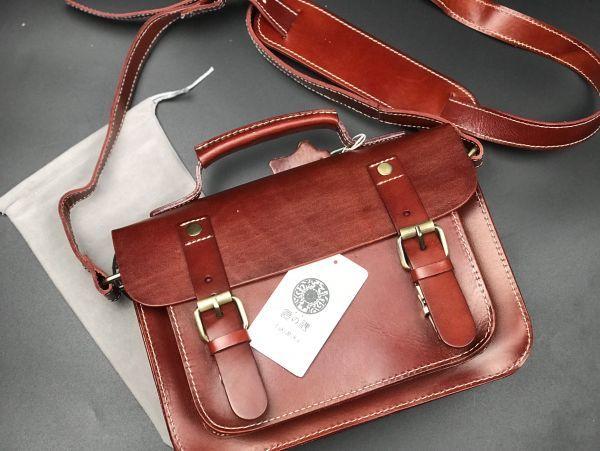 ※最高の贅沢※ メンズ バッグ本革 手染め手縫い 栃木レザーショルダーバッグ 総本革 ハンドバッグ書類鞄 ビジネス新品ワインレッド拍卖