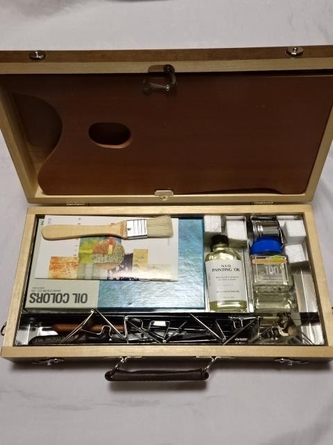 アサヒ絵具 kusakabeブランド 油絵スターターセット 絵の具12色 木箱入り 中古美品