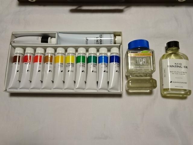 アサヒ絵具 kusakabeブランド 油絵スターターセット 絵の具12色 木箱入り 中古美品_画像2