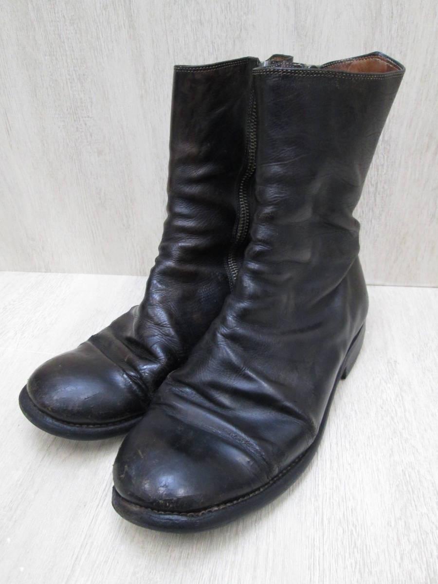 st/128282/1903/グイディ Guidi サイドジップ ブーツ レザー/ブラック/サイズ43(JP約27.5cm)