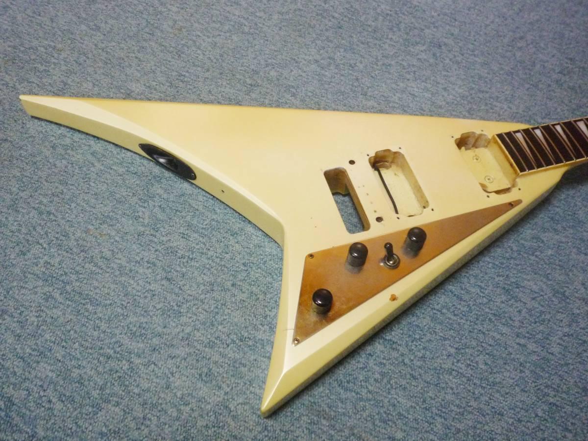 ■フレットすり合わせ済み■ 1985年製 FERNANDES JS-100 PW Neck & Body 22F  フェルナンデス ランディーVタイプ ボディ&ネック_画像3