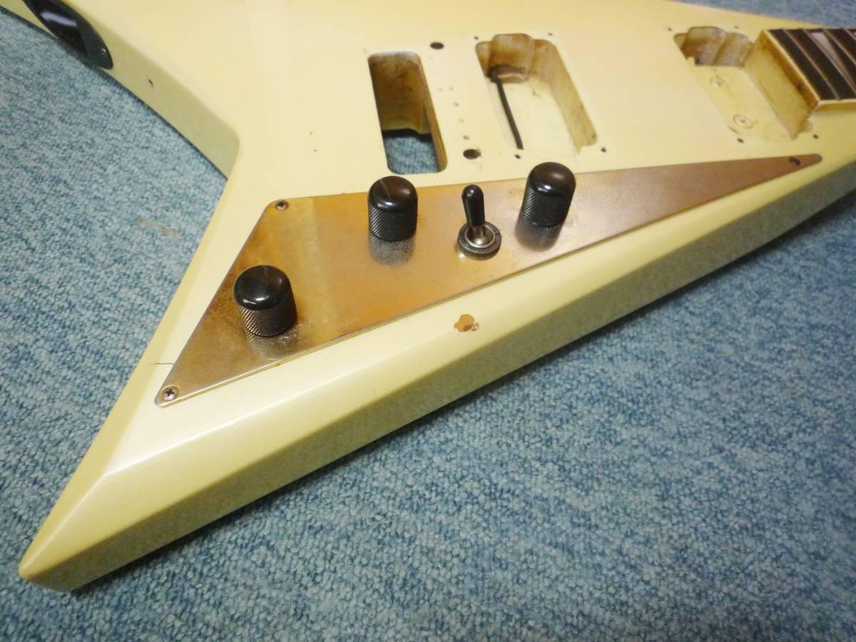 ■フレットすり合わせ済み■ 1985年製 FERNANDES JS-100 PW Neck & Body 22F  フェルナンデス ランディーVタイプ ボディ&ネック_画像4