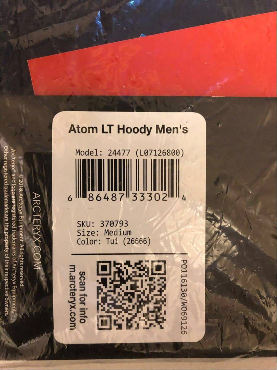 新品未使用 アークテリクス アトムLT フーディー Mサイズ Tui メンズ モデル[24477] ARC'TERYX Atom LT Hoody M Tui Men's_画像4