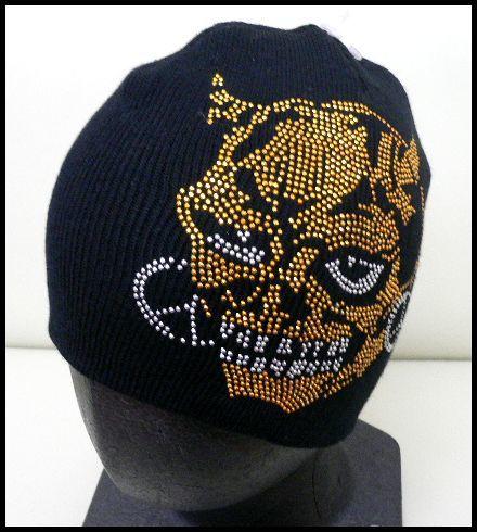 展示品 未使用◆ニット帽 デビル鬼 ラインストーン黒/男女兼用_画像1