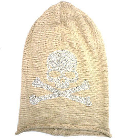 展示品 未使用◆ニット帽 スカル髑髏ラインストーン ベージュ/男女兼用_画像1