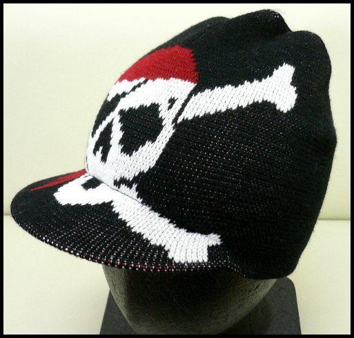 展示品 未使用◆ニット帽ツバ付 海賊スカル黒/男女兼用_画像1