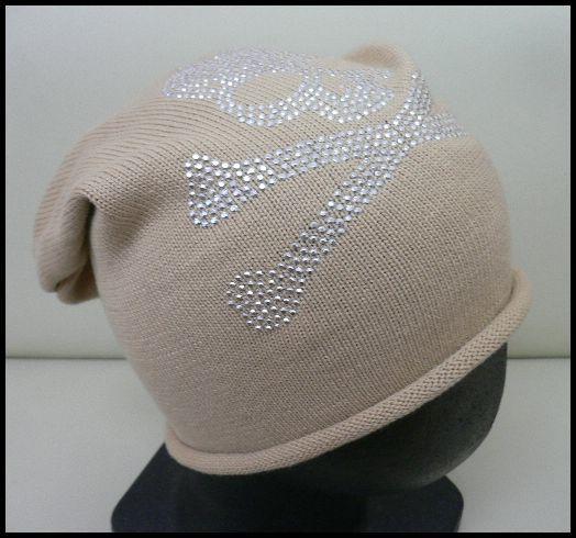 展示品 未使用◆ニット帽 スカル髑髏ラインストーン ベージュ/男女兼用_画像2