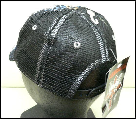 展示品 未使用◆ゴースト スカル刺繍メッシュ キャップ 黒/男女兼用_画像3
