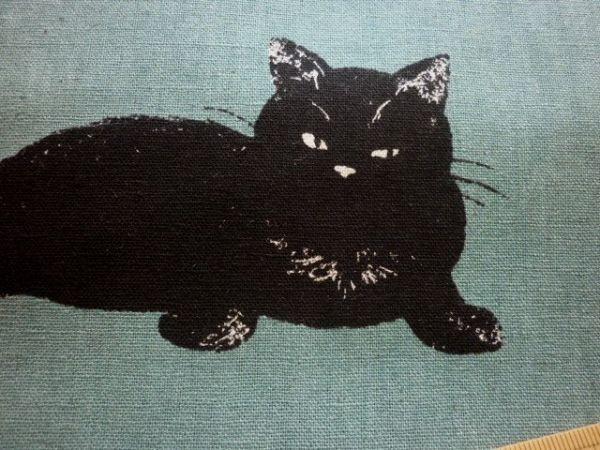 ☆生地**1m☆ 黒猫ねこネコ綿麻キャンバス/あおみどり