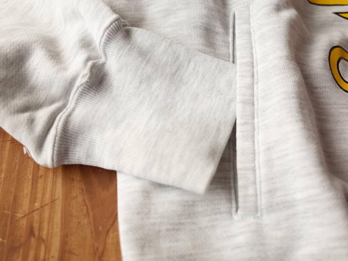 【美品】 90's adidas デサント製 霜降りグレー フーディ パーカー プルオーバー デカロゴ ポケット付き 春物 ビンテージ レア 希少品 ★_画像4