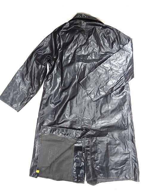 ビンテージ イギリス軍 英国 UK レア 黒 ブラック PVC ラバー ビニール 素材 ロング コート レインコート 防水 オーバー コート 珍品 希少_画像2