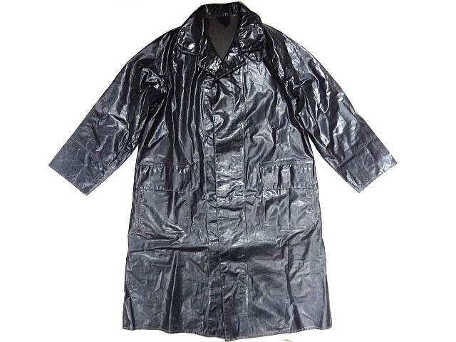 ビンテージ イギリス軍 英国 UK レア 黒 ブラック PVC ラバー ビニール 素材 ロング コート レインコート 防水 オーバー コート 珍品 希少_画像1