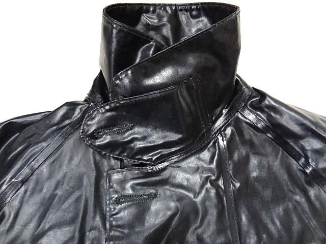 ビンテージ イギリス軍 英国 UK レア 黒 ブラック PVC ラバー ビニール 素材 ロング コート レインコート 防水 オーバー コート 珍品 希少_画像5