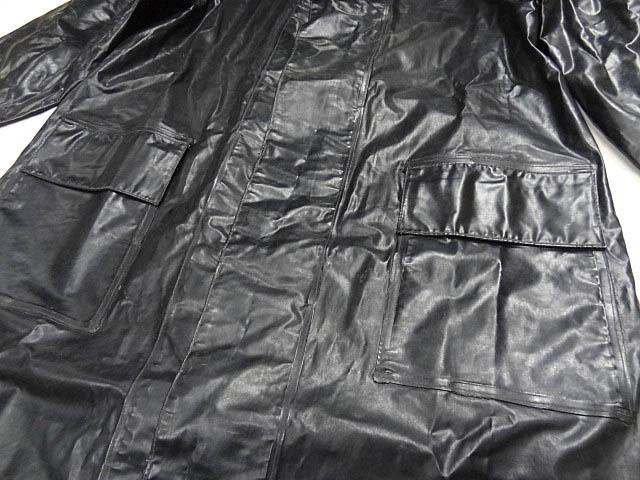ビンテージ イギリス軍 英国 UK レア 黒 ブラック PVC ラバー ビニール 素材 ロング コート レインコート 防水 オーバー コート 珍品 希少_画像7