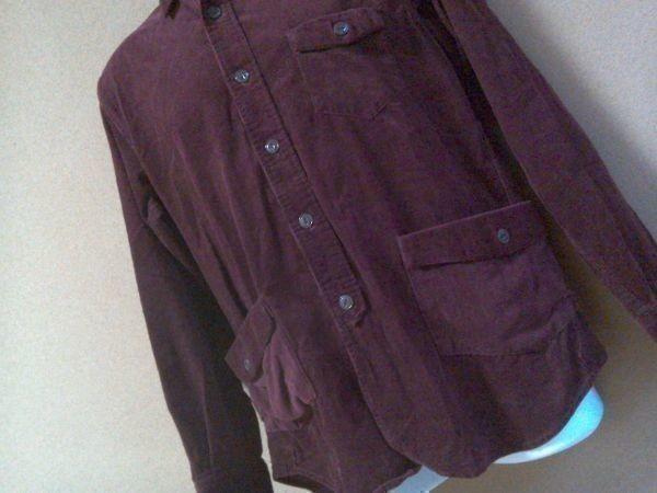 h152-q GLOVE HOUSE コーデュロイ長袖シャツ 赤系ブラウン L ポケット3つ 後ろに絞りあり 綿100% _画像4