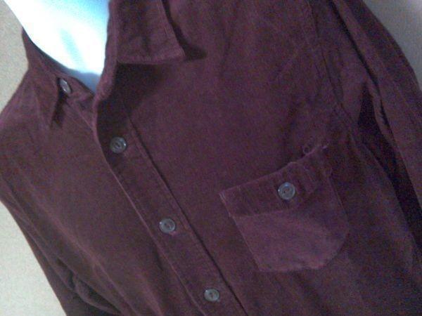 h152-q GLOVE HOUSE コーデュロイ長袖シャツ 赤系ブラウン L ポケット3つ 後ろに絞りあり 綿100% _画像3