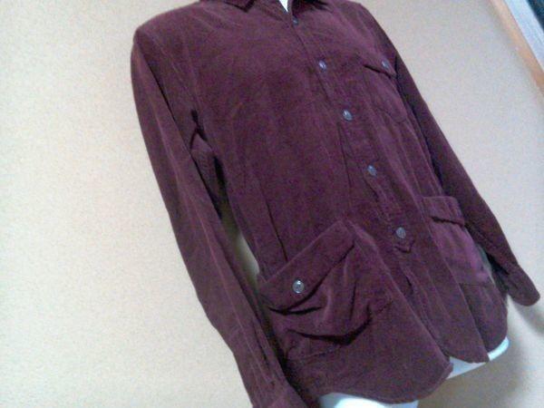 h152-q GLOVE HOUSE コーデュロイ長袖シャツ 赤系ブラウン L ポケット3つ 後ろに絞りあり 綿100% _画像6