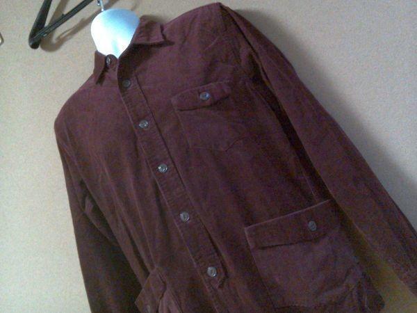 h152-q GLOVE HOUSE コーデュロイ長袖シャツ 赤系ブラウン L ポケット3つ 後ろに絞りあり 綿100% _画像5