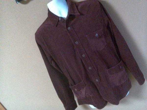 h152-q GLOVE HOUSE コーデュロイ長袖シャツ 赤系ブラウン L ポケット3つ 後ろに絞りあり 綿100% _画像1