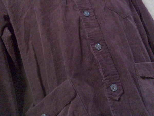 h152-q GLOVE HOUSE コーデュロイ長袖シャツ 赤系ブラウン L ポケット3つ 後ろに絞りあり 綿100% _画像8