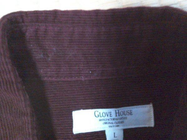 h152-q GLOVE HOUSE コーデュロイ長袖シャツ 赤系ブラウン L ポケット3つ 後ろに絞りあり 綿100% _画像10