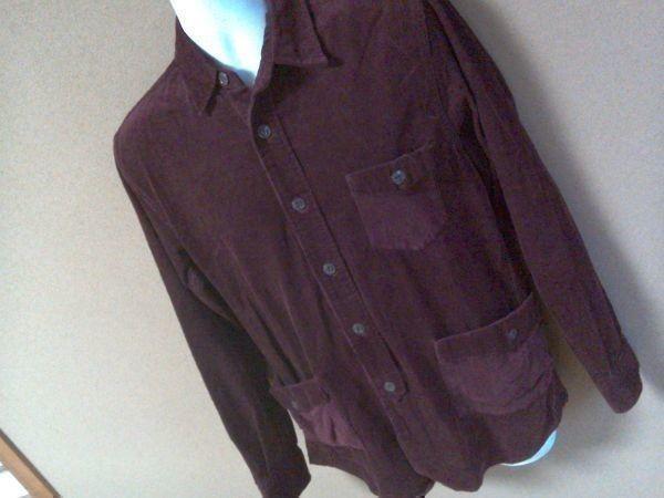 h152-q GLOVE HOUSE コーデュロイ長袖シャツ 赤系ブラウン L ポケット3つ 後ろに絞りあり 綿100% _画像2
