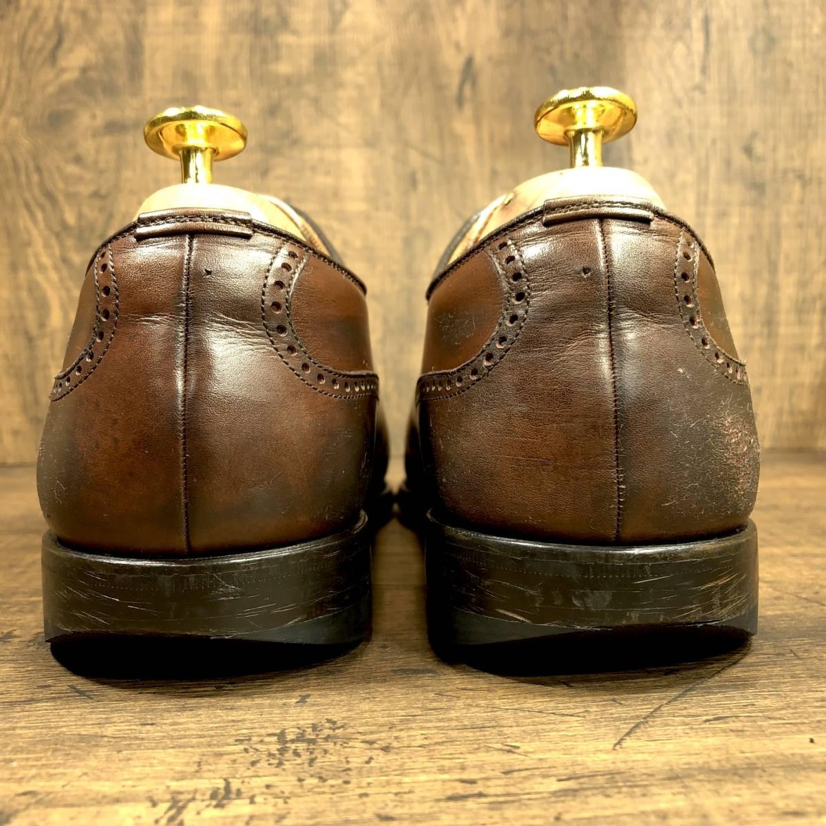 即決■SCOTCH GRAIN■ 26cm 茶 ブラウン スコッチグレイン スワールトゥ ビジネス ドレス メンズ 革靴 靴 レザー_画像3