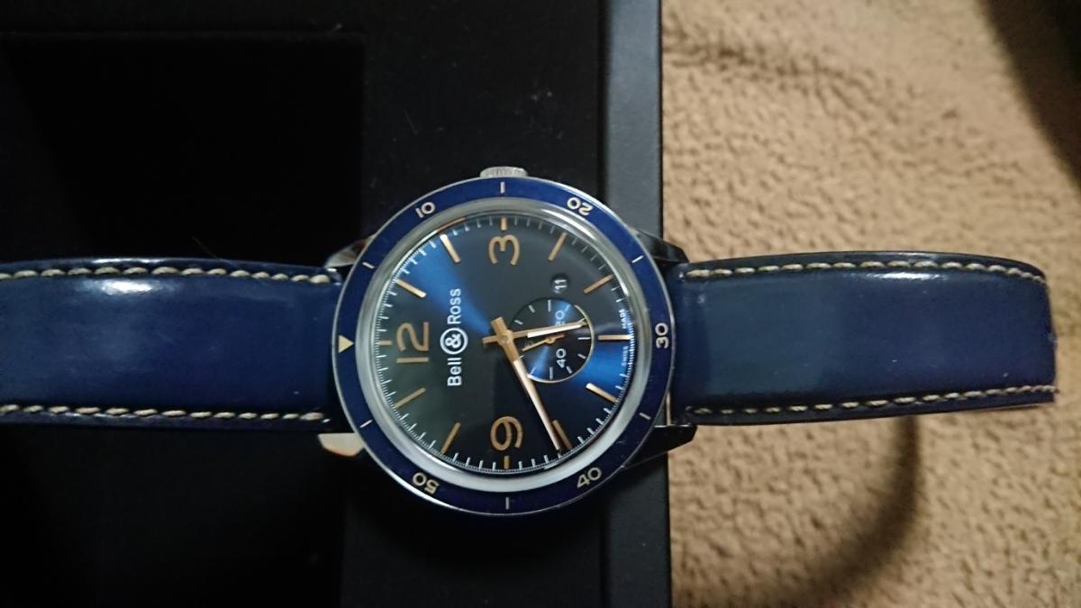 かなりお買い得。【美品】 ベル&ロス ヴィンテージ アエロナバル BR123 BELL&ROSS BRV123-BLU-ST/SCA 腕時計 メンズ 送料無料 ブルー 青色_画像2