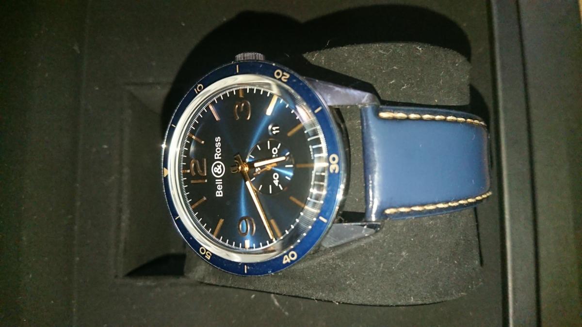 かなりお買い得。【美品】 ベル&ロス ヴィンテージ アエロナバル BR123 BELL&ROSS BRV123-BLU-ST/SCA 腕時計 メンズ 送料無料 ブルー 青色_画像8