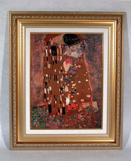 ■グスタフ・クリムト[世界の名画コレクション]『接吻』複製画 額付美品■即決■