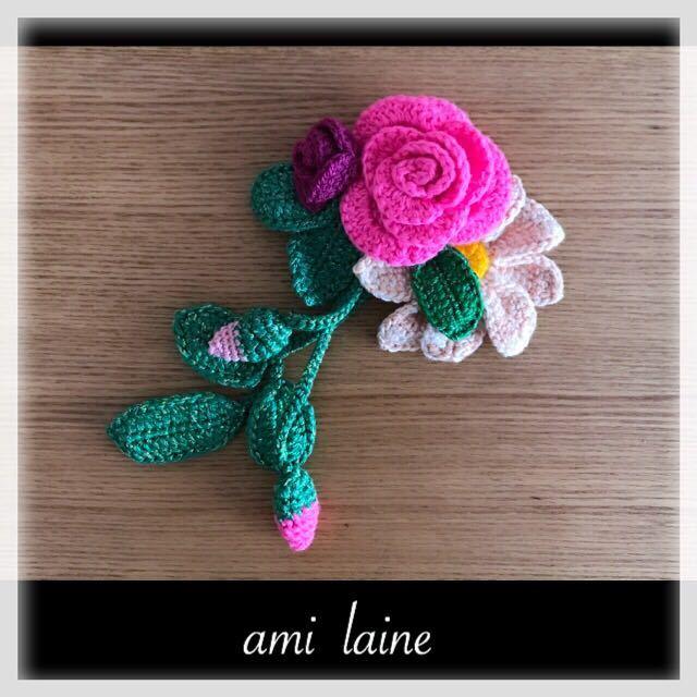 *お花畑の三角ショール*ラズベリー コサージュつき 210cm×75cm 手編み レース編み ハンドメイド ami laine _画像5