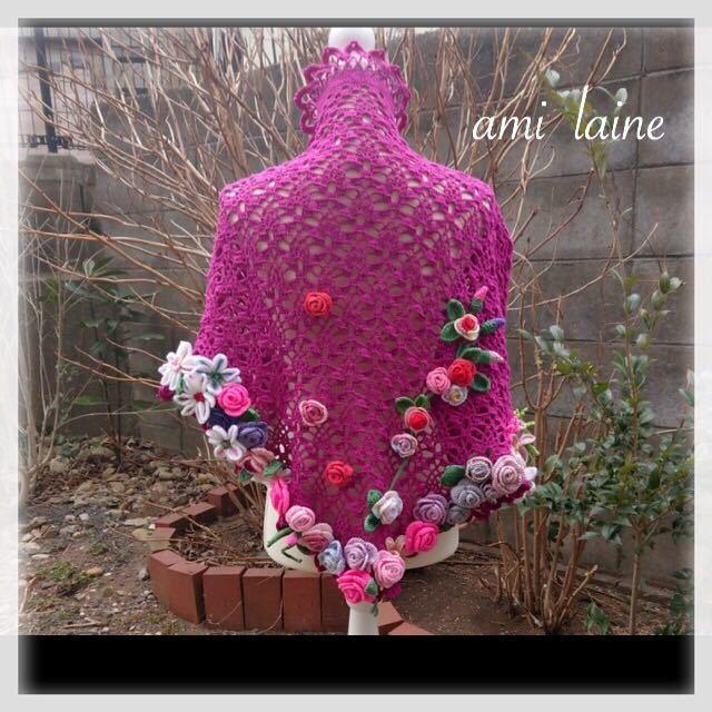 *お花畑の三角ショール*ラズベリー コサージュつき 210cm×75cm 手編み レース編み ハンドメイド ami laine