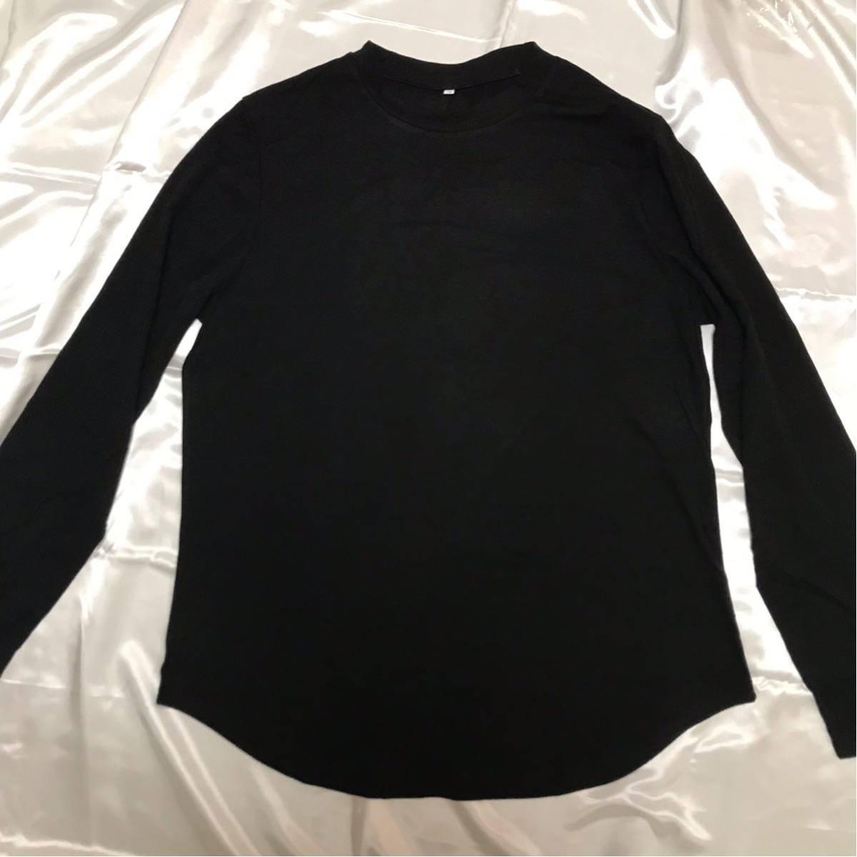 Tシャツ メンズ ロング ロング丈 ロンT カットソー レイヤード 黒 ブラック Lサイズ 新品 インナー トップス