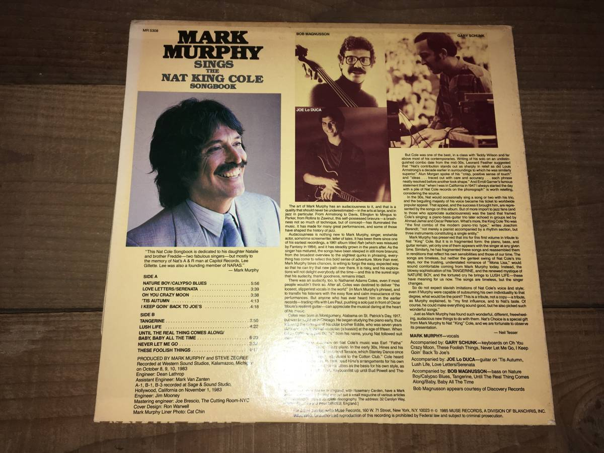 LPレコード/US盤/白ラベル●マークマーフィーMark Murphy / Mark Murphy Sings The Nat King Cole Songbook Volume One_画像2