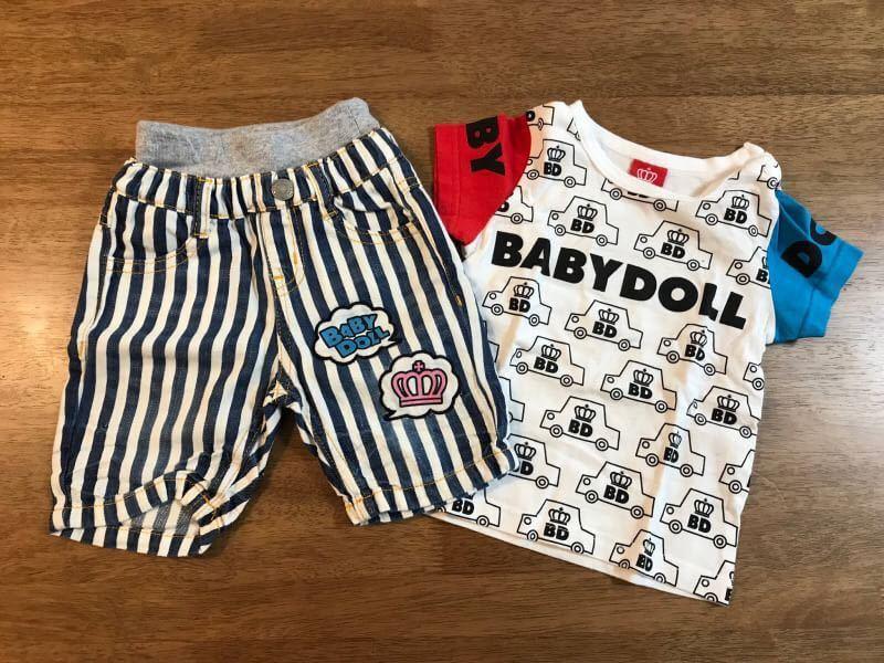 85bdcb85e035f ~BABYDOLL Tシャツ 短パンセット~ ベイビードール ショーツ ストライプ ラグランスリーブ パッチワーク キッズ