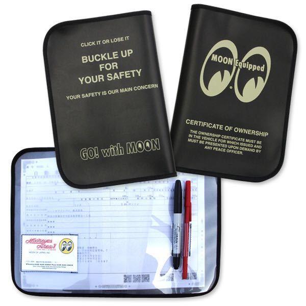MOON Equipped mooneyes 188円発送可 ムーンアイズ 車検証ホルダー ブラック タイトルホルダー 黒 mooneyes 旅行などの書類にも_画像2