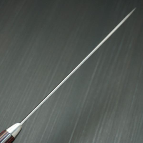 包丁 ペティナイフ 150mm 粉末ステンレスハイス スーパーゴールド2 槌目 カトウ打刃物製作所 越前打刃物 金太郎作 口金付 赤黒合板柄_画像8