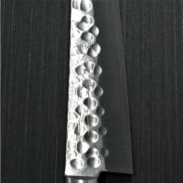 包丁 ペティナイフ 150mm 粉末ステンレスハイス スーパーゴールド2 槌目 カトウ打刃物製作所 越前打刃物 金太郎作 口金付 赤黒合板柄_画像4