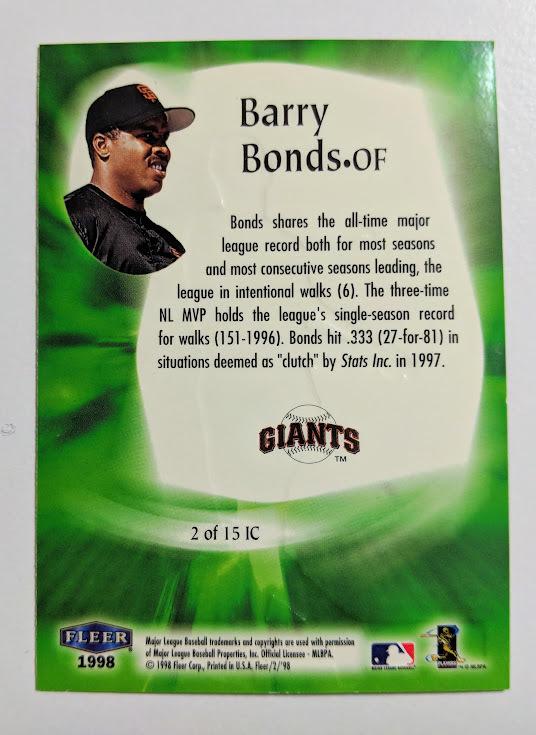 バリー・ボンズ ジャイアンツ Barry Bonds〝In The CLUTCH〟【2of 15】 FLEER TRADITION 1998 MLB トレーディングカード  送料無料_画像2