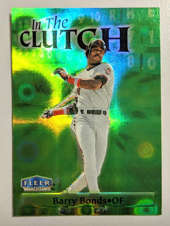 バリー・ボンズ ジャイアンツ Barry Bonds〝In The CLUTCH〟【2of 15】 FLEER TRADITION 1998 MLB トレーディングカード  送料無料_画像1