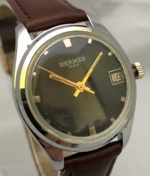 1円出品!送料無料!Hermes Paris エルメス アンティーク腕時計 手巻き date 日付  ビンテージ_画像3
