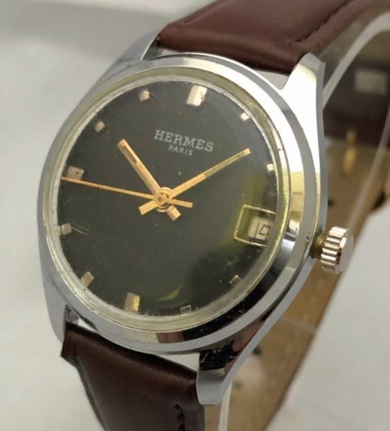 1円出品!送料無料!Hermes Paris エルメス アンティーク腕時計 手巻き date 日付  ビンテージ